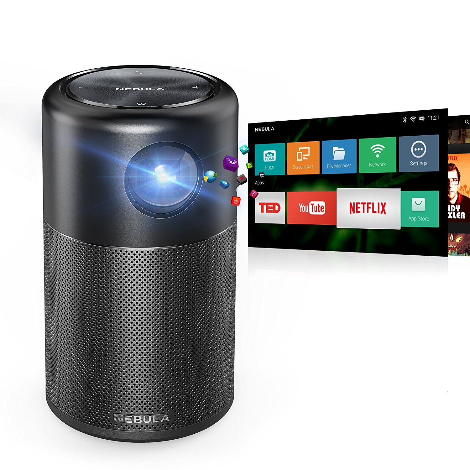 PROYECTOR NEBULA DE ANKER, PORTABLE SMART CINEMA DLP BOCINA DE 360° WI FI, ANDROID 7.1 4 HORAS DE VÍDEO CON APPS