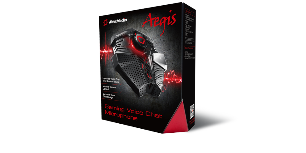 AVERMEDIA MM GM310 GAMING MICROPHONE USB 2.0 USB BUS-POWER AEGIS SPEAKER SOUND SUPPRESSION TECHNOLOGY UP TO 60 CM 48,000 Hz 16 BITS 110 db SPL Windows® 10 / 8.1 / 7(64/32 bit)