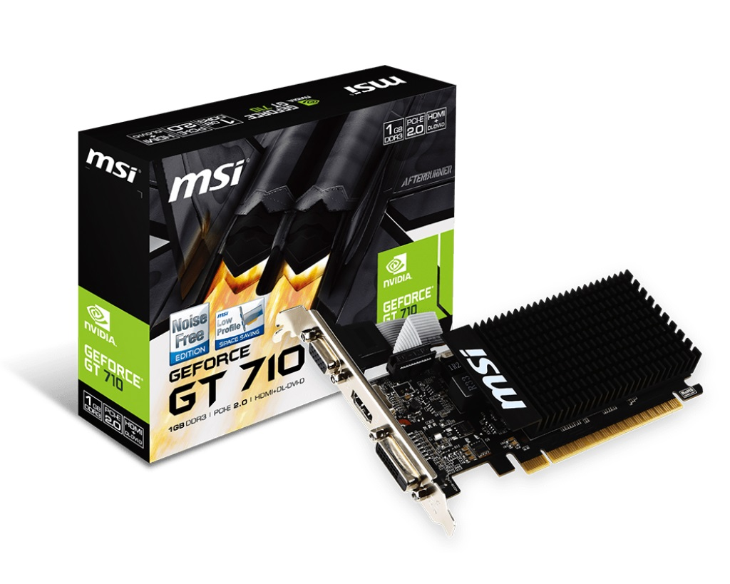 MSI VC GT 710 1GD3H LP, NVIDIA GEFORCE GT 710, PCI EXPRESS X8 2.0, DDR3 1GB, 1 DVI.D, 1 D-SUB, 1 HDMI, MAX RESOLUTION 4096 X 2160