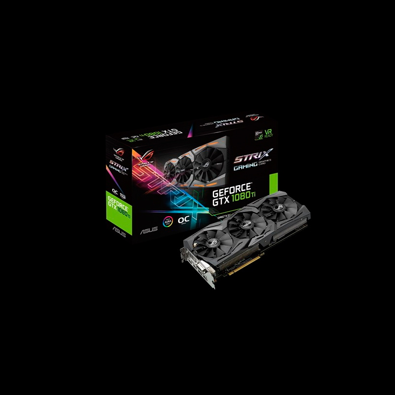 ASUS VC ROG-STRIX-GTX1080TI-O11G-GAMING, NVIDIA GEFORCE GTX 1080TI, PCI EXPRESS 3.0, GDDR5X 11GB, DVI-D X 1, HDMI X 2, DISPLAY PORT X 2, MAX RESOLUTION 7680 X 4320