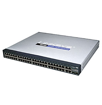 Switch Administrable Gigabit Cisco Small Business, Modelo SF300-48 de 48 puertos 10/100 Auto-negotiating/Auto MDI/MDI-X LAN + 2 puertos 10/100/1000 Shared Uplink y 2 slots de expancion SFP (mini-GBIC)