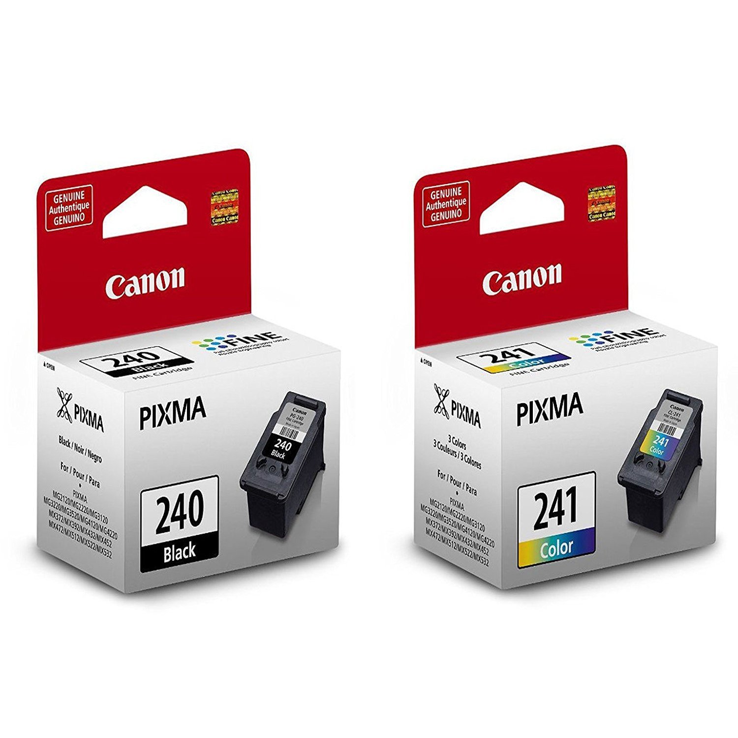 Kit de cartuchos de tinta fina de color negro  Canon PG-240 y CL-241.