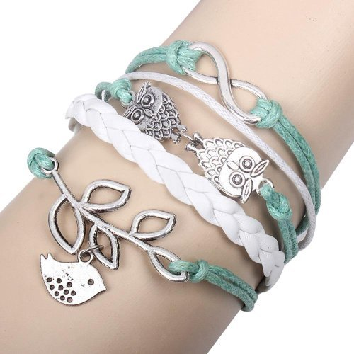 Pulsera retro Braided Owl Infinity Olive Branch Leather Rope Wrap