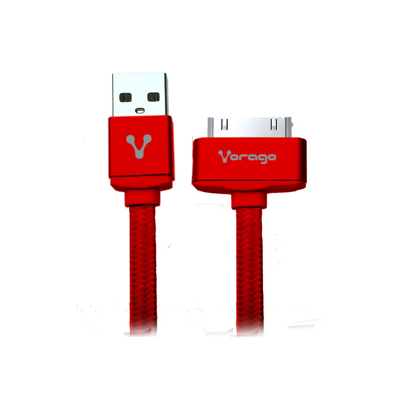 CABLE VORAGO CAB-118 USB-APPLE DOCK 1 METRO ROJO BOLSA