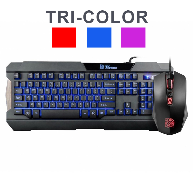 THE BD KB-CCM-PLBLSP-01 COMMANDER GAMING GEAR COMBO TRI-COLOR LED (Rojo/ Azul/ Morado)