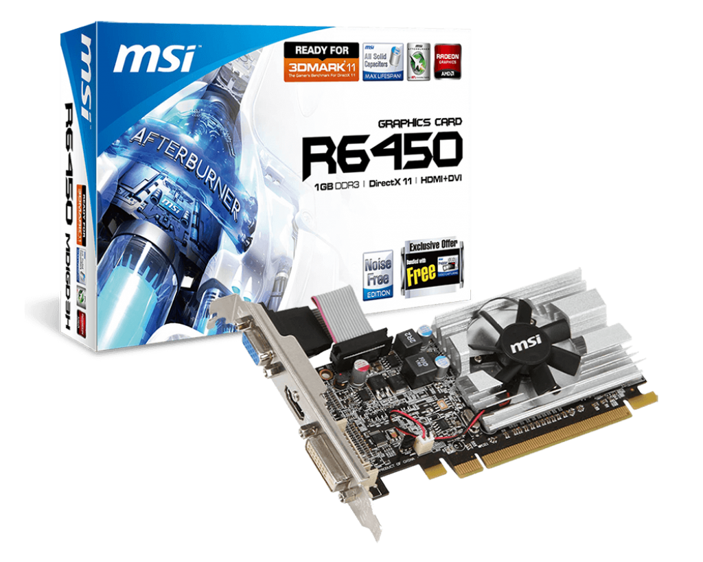 MSI VC R6450-MD1GD3/LP, ATI RADEON HD 6450, PCI EXPRESS X16 2.1, DDR3 1GB, 1 DVI, 1 D-SUB, 1 HDMI