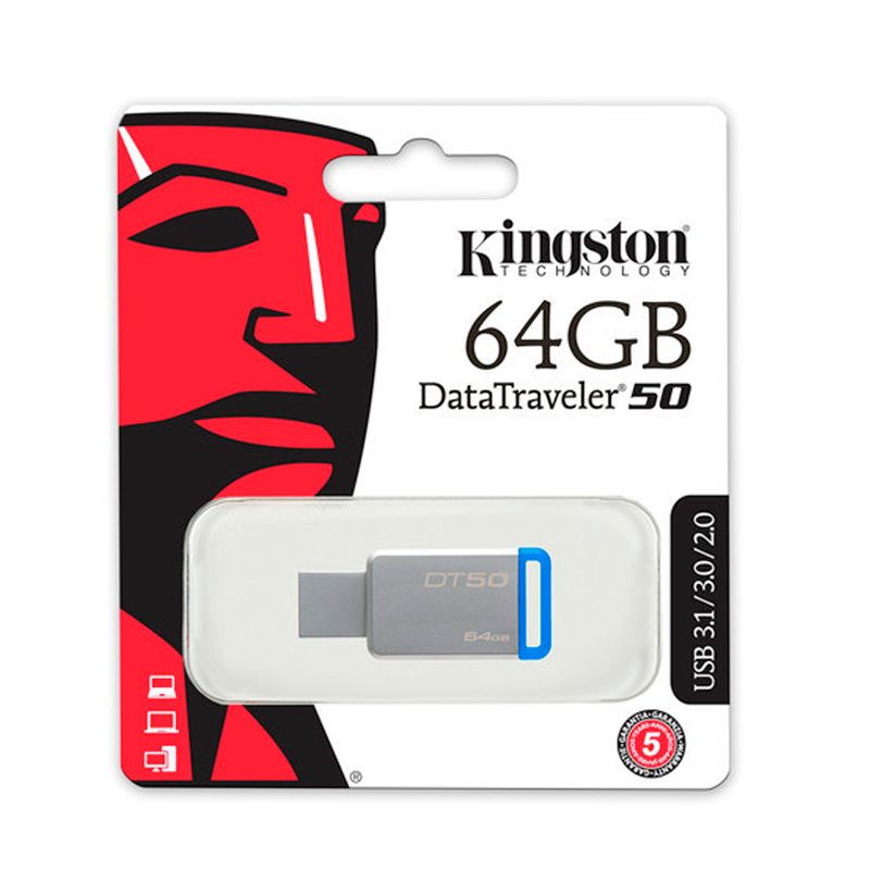 KINGSTON RM DT50/64GB, DATATRAVELER 50, USB 3.1, 64 GB AZUL