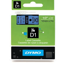 "DYMO Labeling Tape, D1, Split Back, Adhesive, Easy Peel, 1/2""x23', Black Print on Blue"