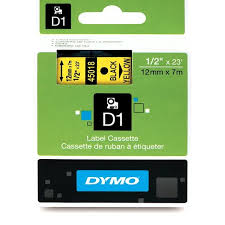 "DYMO Labeling Tape, D1, Split Back, Adhesive, Easy Peel, 1/2""x23', Black Print on Yellow Tape"