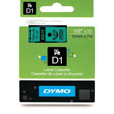 "DYMO Labeling Tape, D1, Split Back, Adhesive, Easy Peel, 1/2""x23', Black Print on Green Tape"