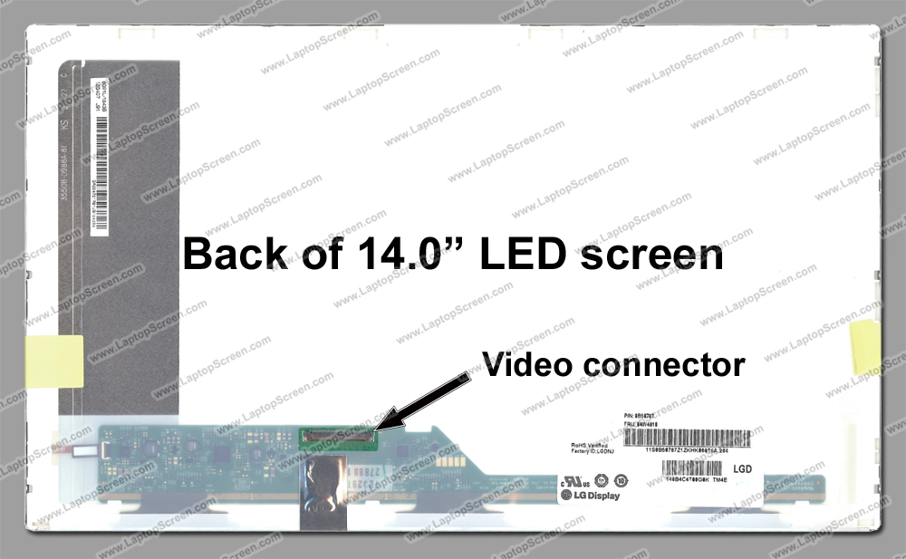 "14.0-inch WideScreen (12""x7.4"")  WXGA (1366x768) HD Glossy LED LTN140AT26-W01"