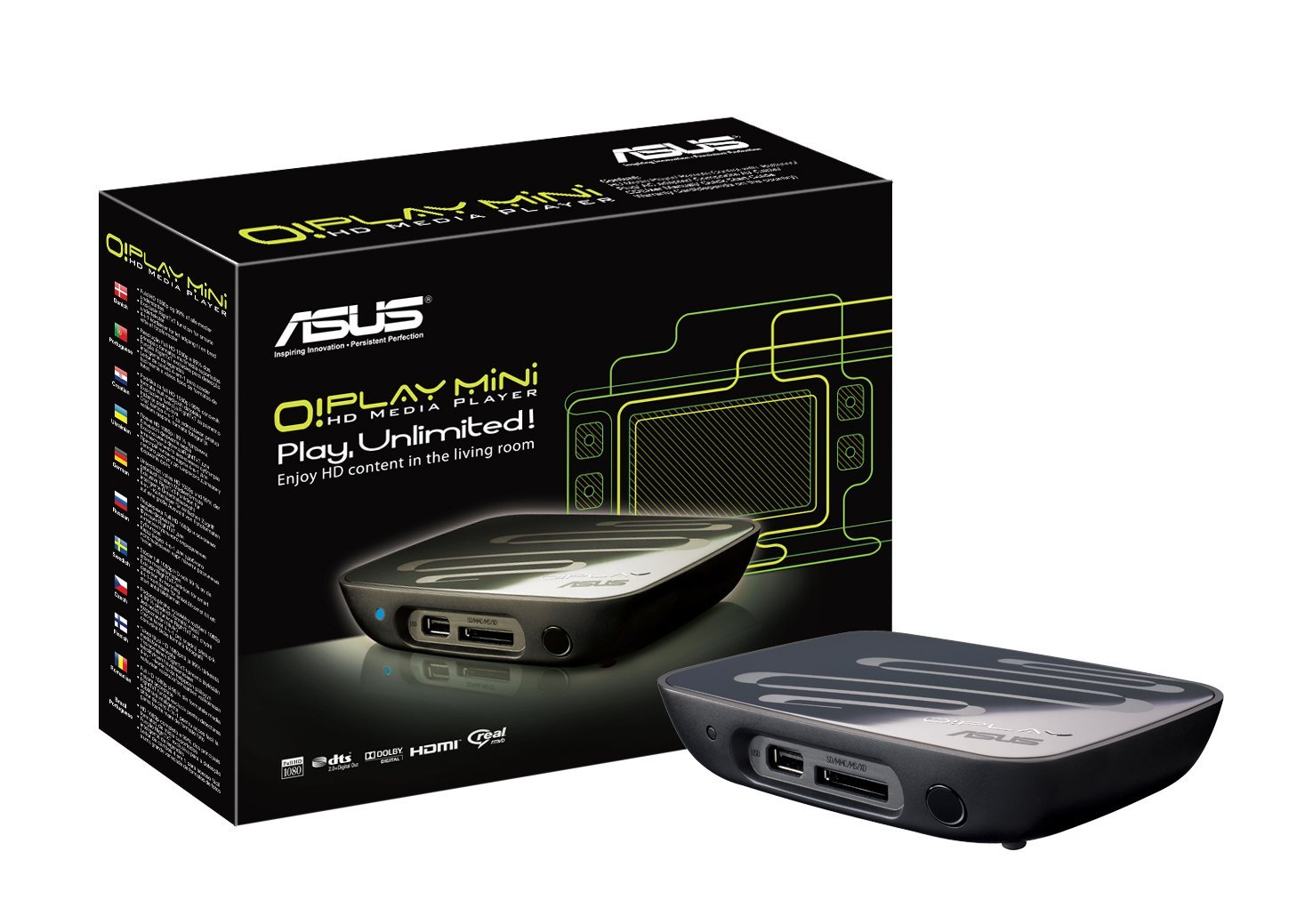 ASUS O!Play MINI - Compact full HD, 7.1 Channel audio multi-format living room entertOPLAY_MINI/1A/NTSC/AS HDMI Interface