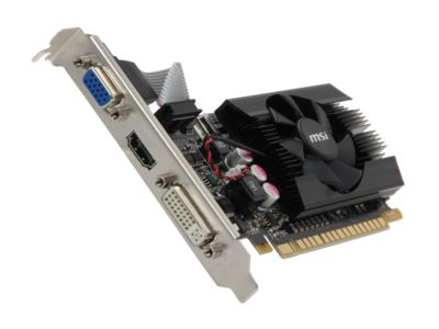 MSI N610GT-MD2GD3/LP GeForce GT 610 2GB 64-bit DDR3 PCI Express 2.0 x16 HDCP Ready Low Profile Ready Video Card