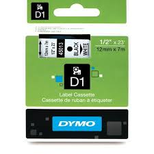 "DYMO Labeling Tape, ½"" x 23', Black Print on White Tape (45013) D1 Label Cassette, Split Back Easy Peel Adhesive"