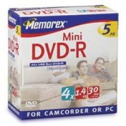 Memorex Mini DVD-R - 5 x DVD-R (8cm) - 1.4 GB ( 30 minutos ) 1x
