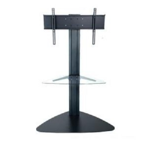 Flat Panel TV Floor Stand with 1 Clear Glass Shelf - Black